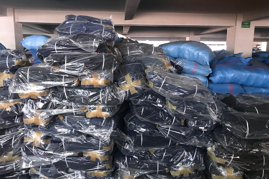 Five story factory in Casablanca, Morocco with more than 350,000 pieces of counterfeit jeans.